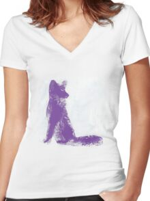 Purple Finger Painted Arctic Fox Women's Fitted V-Neck T-Shirt
