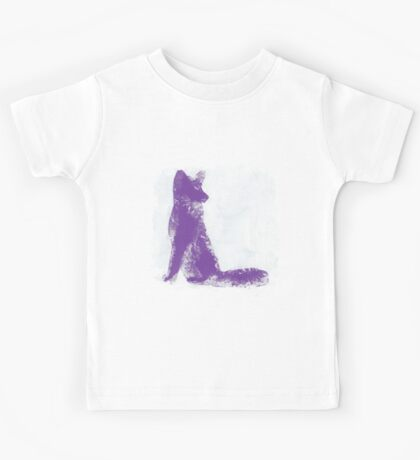 Purple Finger Painted Arctic Fox Kids Tee