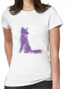 Purple Finger Painted Arctic Fox Womens Fitted T-Shirt