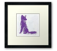Purple Finger Painted Arctic Fox Framed Print