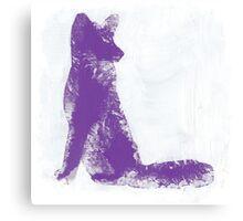 Purple Finger Painted Arctic Fox Canvas Print