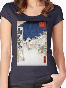 Hiroshige Bikuni Bridge in Snow, Meisho Edo Hyakkei Women's Fitted Scoop T-Shirt