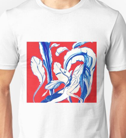Plant in Blue Marker - Leaf of Life Miracle Leaf - RED Unisex T-Shirt