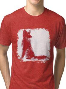 Fuchsia Finger Painted Arctic Fox Tri-blend T-Shirt