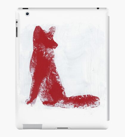 Fuchsia Finger Painted Arctic Fox iPad Case/Skin
