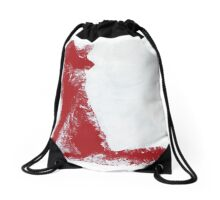 Fuchsia Finger Painted Arctic Fox Drawstring Bag