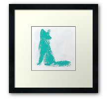 Teal Finger Painted Arctic Fox Framed Print
