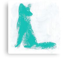 Teal Finger Painted Arctic Fox Canvas Print