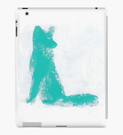 Teal Finger Painted Arctic Fox iPad Case/Skin