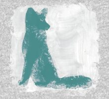 Teal Finger Painted Arctic Fox Baby Tee