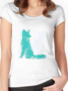 Teal Finger Painted Arctic Fox Women's Fitted Scoop T-Shirt