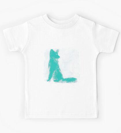 Teal Finger Painted Arctic Fox Kids Tee