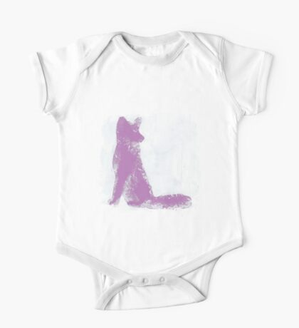 Violet Finger Painted Arctic Fox One Piece - Short Sleeve