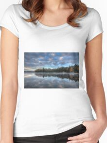 Reflected trees and sky Women's Fitted Scoop T-Shirt