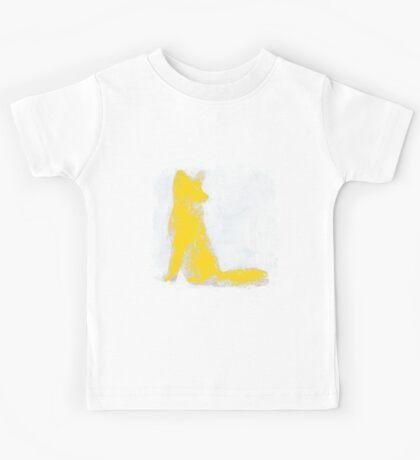 Yellow Finger Painted Arctic Fox Kids Tee
