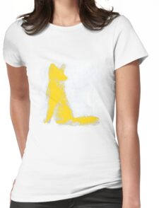 Yellow Finger Painted Arctic Fox Womens Fitted T-Shirt