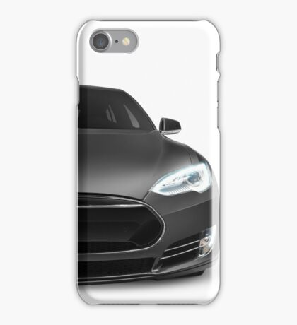 Gray Tesla Model S luxury electric car front view isolated on white art photo print iPhone Case/Skin