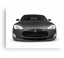 Gray Tesla Model S luxury electric car front view isolated on white art photo print Canvas Print