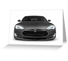 Gray Tesla Model S luxury electric car front view isolated on white art photo print Greeting Card