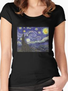 'Starry Night' by Vincent Van Gogh (Reproduction) Women's Fitted Scoop T-Shirt