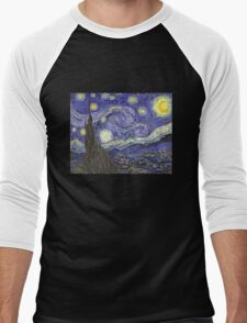 'Starry Night' by Vincent Van Gogh (Reproduction) Men's Baseball ¾ T-Shirt