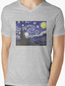'Starry Night' by Vincent Van Gogh (Reproduction) Mens V-Neck T-Shirt