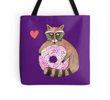 Raccoon Loves Giant Donut Tote Bag