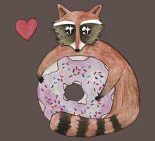 Raccoon Loves Giant Donut One Piece - Short Sleeve