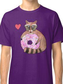 Raccoon Loves Giant Donut Classic T-Shirt