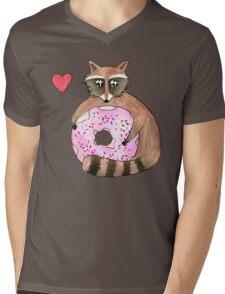 Raccoon Loves Giant Donut Mens V-Neck T-Shirt