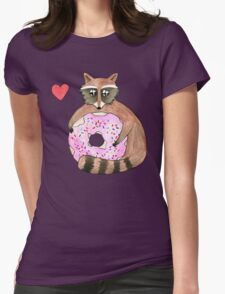 Raccoon Loves Giant Donut Womens Fitted T-Shirt