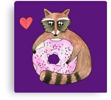 Raccoon Loves Giant Donut Canvas Print