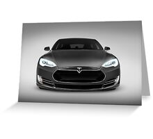 Gray Tesla Model S luxury electric car front view art photo print Greeting Card