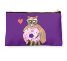 Raccoon Loves Giant Donut Studio Pouch