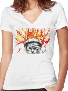 Kitty Geeking Women's Fitted V-Neck T-Shirt
