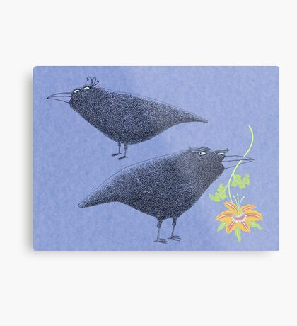 Lovebirds with flower courtship Metal Print