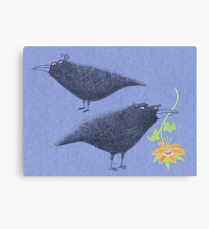 Lovebirds with flower courtship Canvas Print