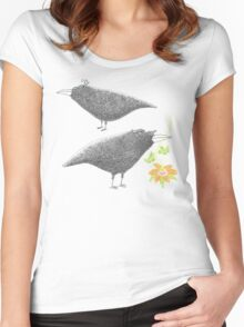 Lovebirds with flower courtship Women's Fitted Scoop T-Shirt