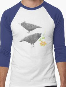 Lovebirds with flower courtship Men's Baseball ¾ T-Shirt