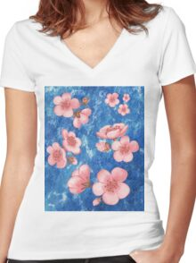 Pink Flowers for Baby Room Women's Fitted V-Neck T-Shirt