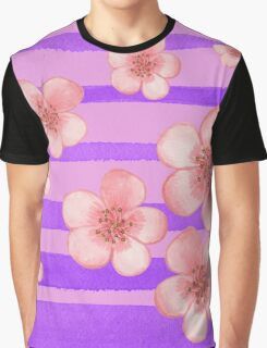 Pink Flowers Purple Stripes for Baby Room Graphic T-Shirt