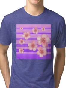 Pink Flowers Purple Stripes for Baby Room Tri-blend T-Shirt
