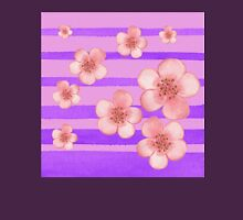 Pink Flowers Purple Stripes for Baby Room Unisex T-Shirt