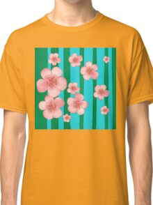 Pink Flowers Green Stripes for Baby Room Classic T-Shirt