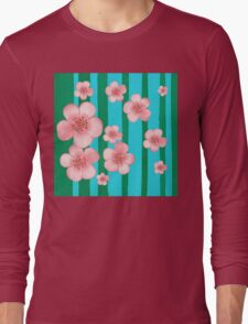 Pink Flowers Green Stripes for Baby Room Long Sleeve T-Shirt