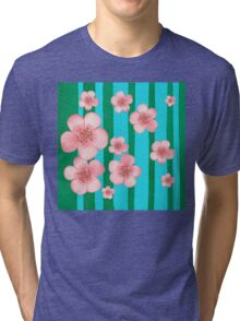Pink Flowers Green Stripes for Baby Room Tri-blend T-Shirt