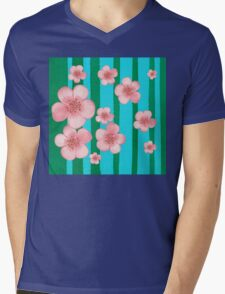 Pink Flowers Green Stripes for Baby Room Mens V-Neck T-Shirt