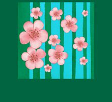 Pink Flowers Green Stripes for Baby Room Unisex T-Shirt