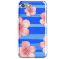 Pink Flowers Blue Stripes for Baby Room iPhone Case/Skin
