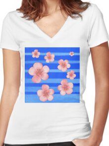 Pink Flowers Blue Stripes for Baby Room Women's Fitted V-Neck T-Shirt